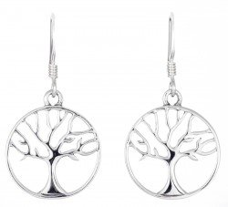 Sterling Silver Round Tree Of Life Drop Earrings