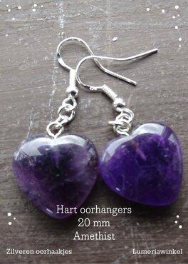 Hart oorhangers Amethist