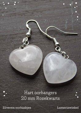 Hart oorhangers Rozekwarts