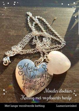 Moeder dochter hanger met Rozekwarts hartje