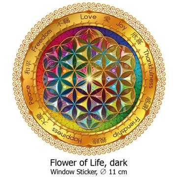 Flower of Life raam Sticker 11 cm