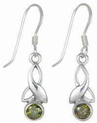 Sterling Silver Celtic Drop Leaf May Birthstone Earrings