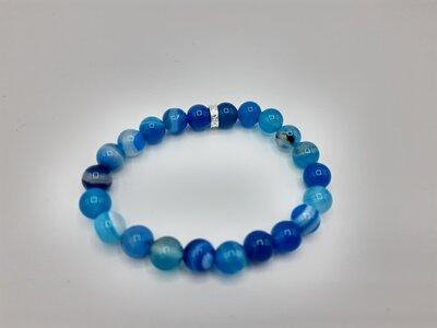 Blauwe agaat powerbead armband