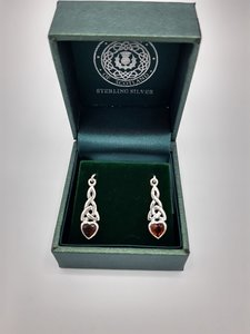 Sterling Silver celtic heart stone earrings