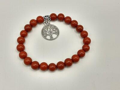Rode jaspis armband met tree of life