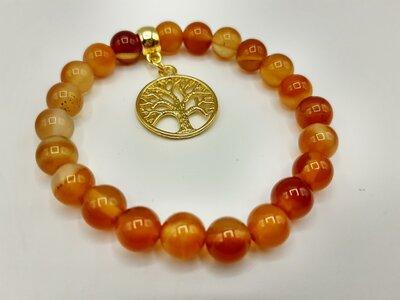 Carneool armband met goudkleurig tree of life