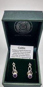 Geboortesteen februari  - celtic leaf oorhangers zilver
